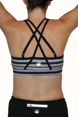 Adjustable Sports Bra - Gray and Black Stripe