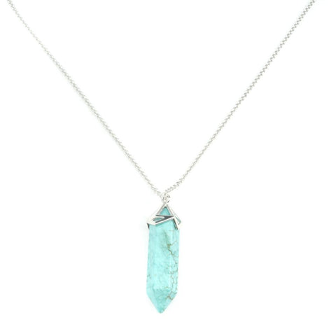 Gemstone Point Necklace in Silver