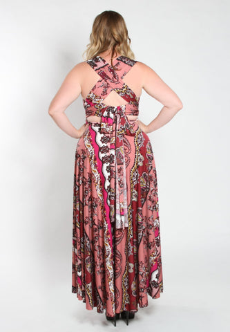 Image of Eternity Convertible Printed Maxi Dress
