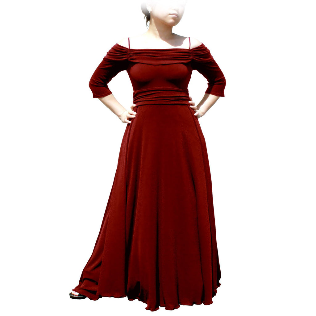 Evanese Women's Plus Size Formal Long Evening Dress 3/4 Sleeves and Side Flare