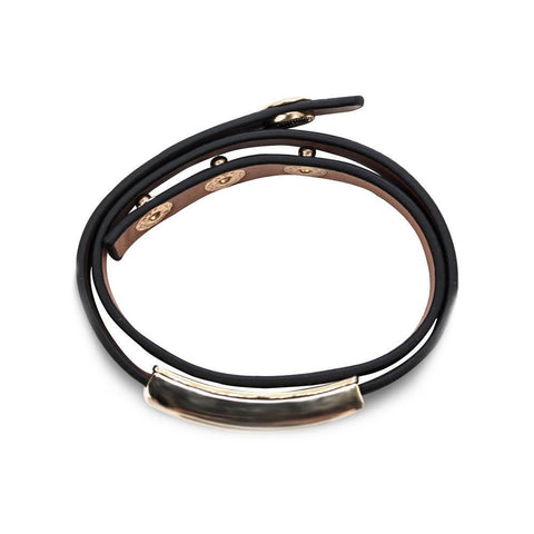 Buckled Leather Bracelet - Midnight Black