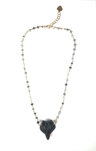 Dalmatian Opal and Obsidian Fox Necklace