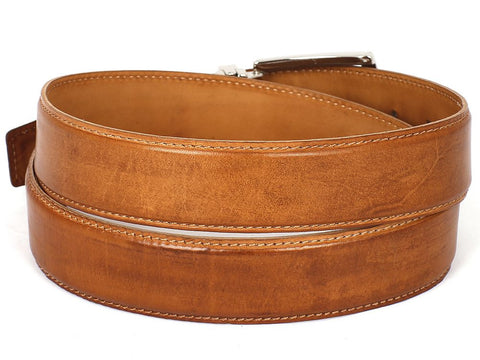 Image of PAUL PARKMAN Men's Leather Belt Hand-Painted Tobacco (ID#B01-CML)