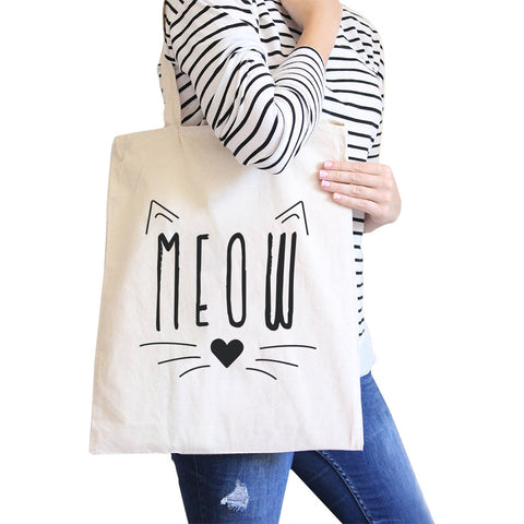Image of Meow Canvas Shoulder Bag Cute Cat Lover Gifts Foolable School Tote
