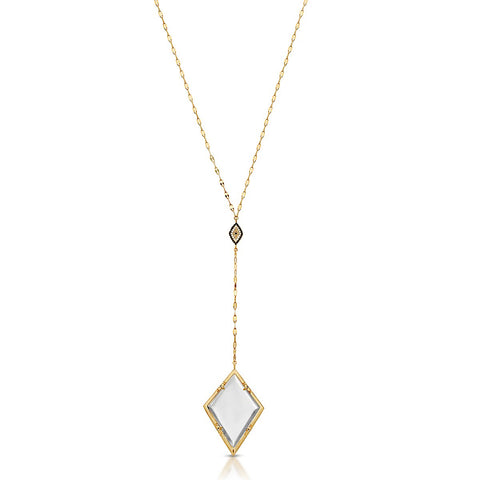 Jeziree Gold Lariat - Magnifier Pendant Necklace