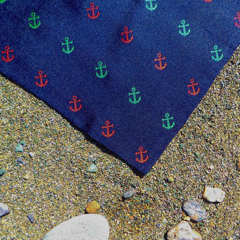 Image of Anchor Pocket Square - Port & Starboard, Woven Silk