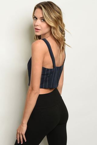 Image of Womens Navy Stripes Top
