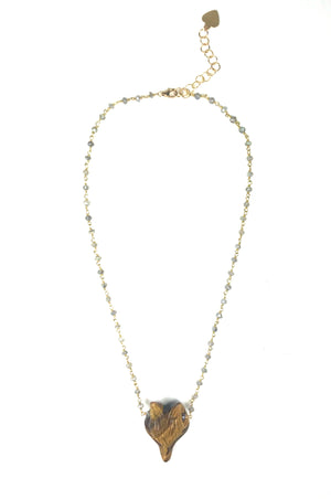 Labradorite and Tiger Eye Fox Necklace