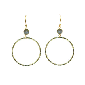 Labradorite Bezel Circle Earrings