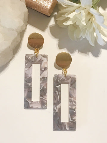 Image of Heather Rectangle Resin Earrings