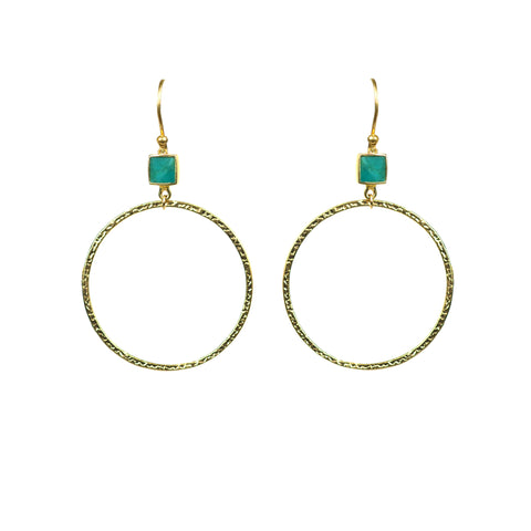 Turquoise Bezel Circle Earrings