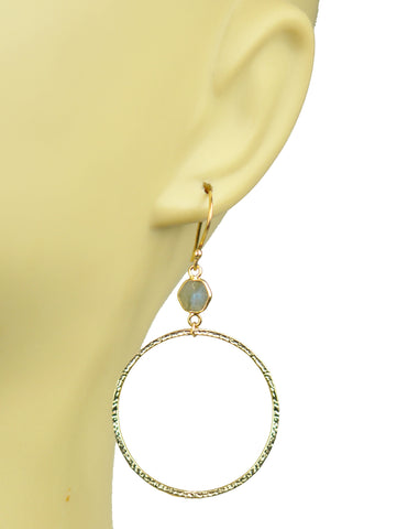 Image of Labradorite Bezel Circle Earrings
