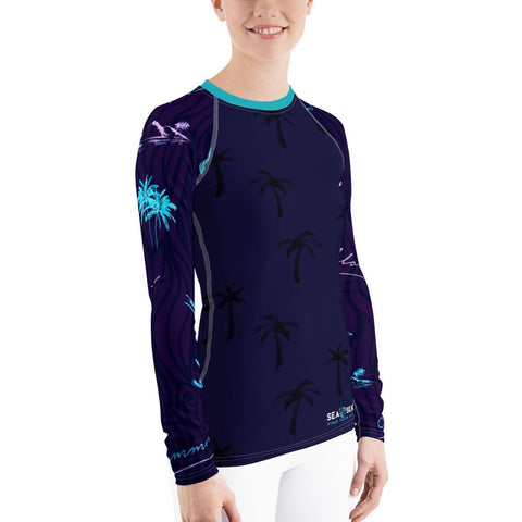 Image of Women's Hawaiian Adventure Sea Skinz Performance Rash Guard UPF 40+