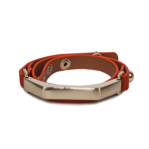 Sash Leather Bracelet- Orange