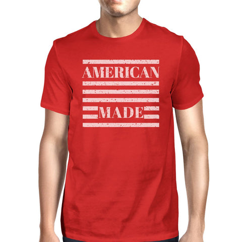 Image of American Made Mens Red Crewneck T-Shirt Gifts Ideas For 4th Of July