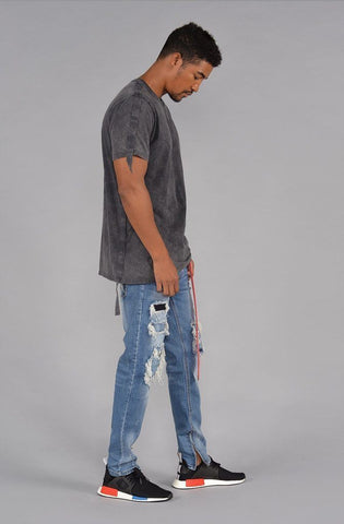 Image of TAB Acid Wash Short Sleeve T- Shirt (Hi-VizOrange)
