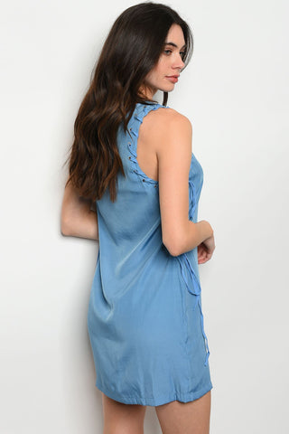 Image of Womens Lace Blue Dress