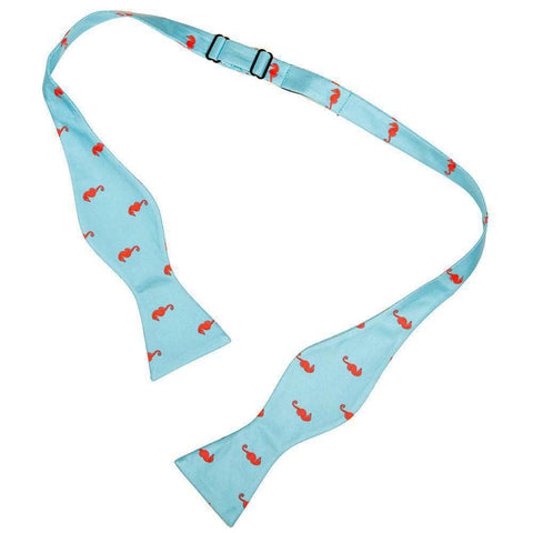 Image of Seahorse Bow Tie - Blue, Printed Silk