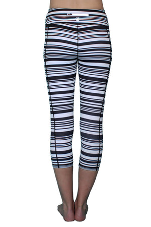 Black and White Ripple Stripe - Pocket Capri