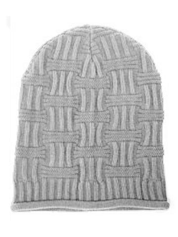 Image of Gray Unisex Basket Weave Slouchy Beanie Hat Mid Weight