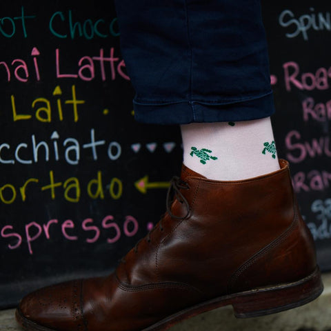 Image of Turtle Socks - Men's Mid Calf - Green on Pink