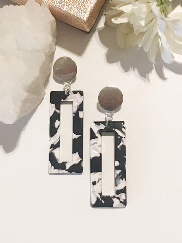 Heather Rectangle Brushed Metal Post Earrings in Silver