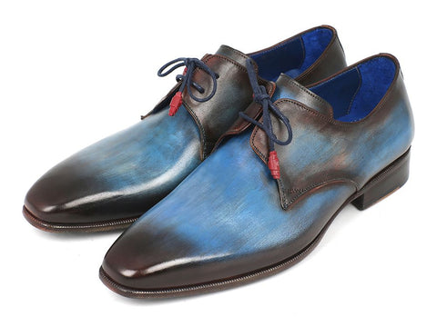 Image of Paul Parkman Men's Blue & Brown  Derby Shoes (ID#326-BLU)