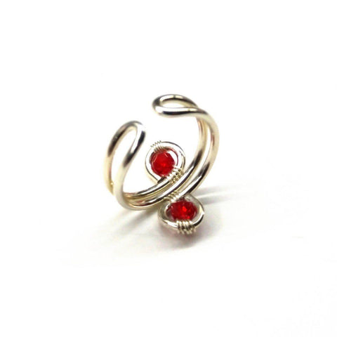 Sterling Silver Red Pink Crystal Adjustable Wire Wrap Finger Toe Ring