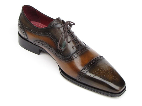 Image of Paul Parkman Men's Captoe Oxfords Camel & Olive Shoes (ID#024-OLV)