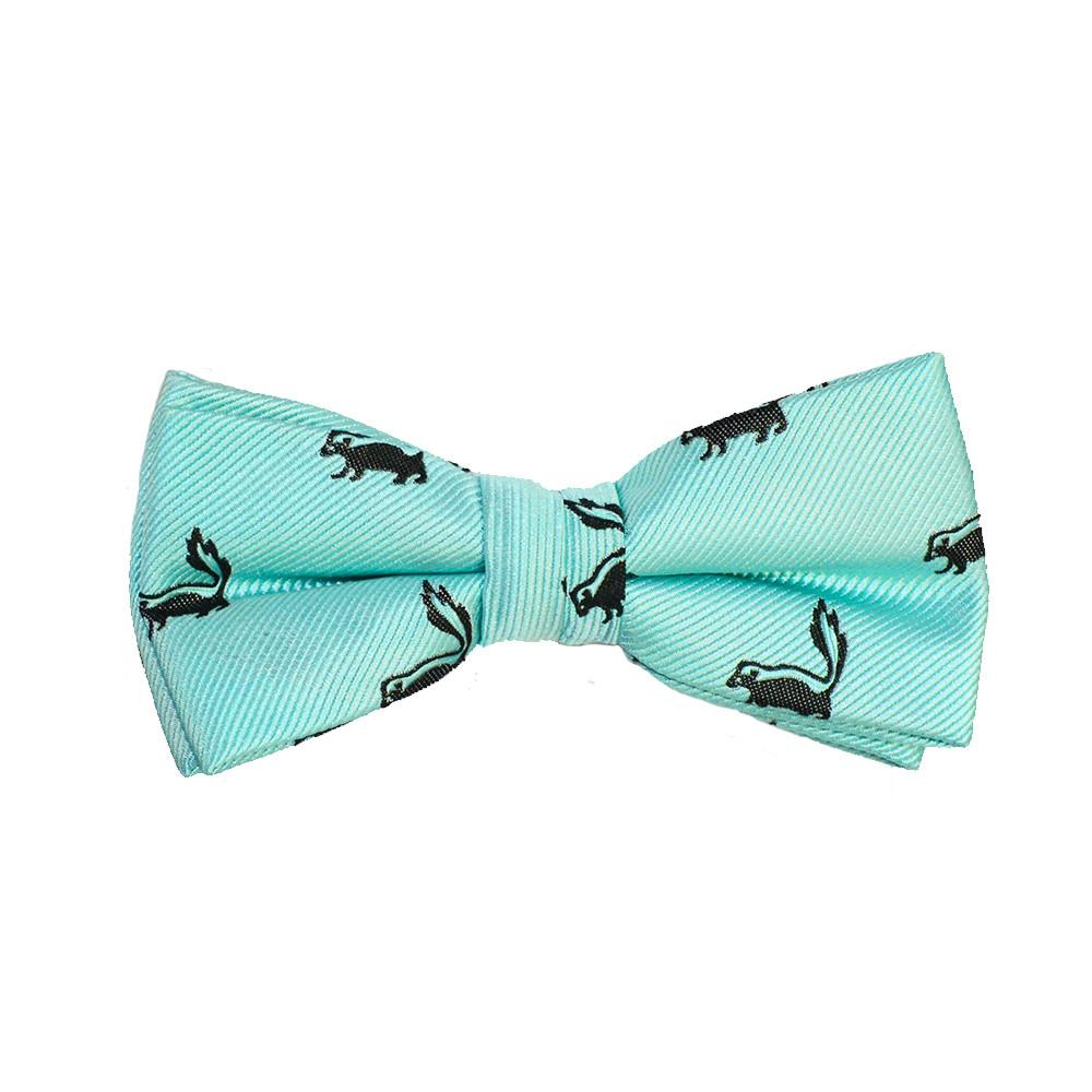 Skunk Bow Tie - Sea Green, Woven Silk, Pre-Tied for Kids