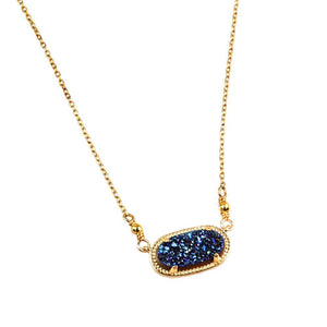 Alicia Oval Druzy Necklace in Gold