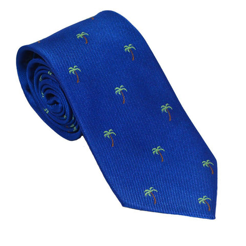 Palm Tree Necktie - Blue, Woven Silk