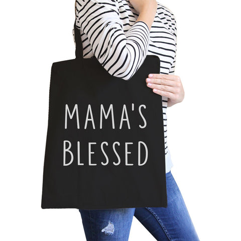 Image of Mama's Blessed Black Canvas Teacher Tote Bag For Mother's Birthday