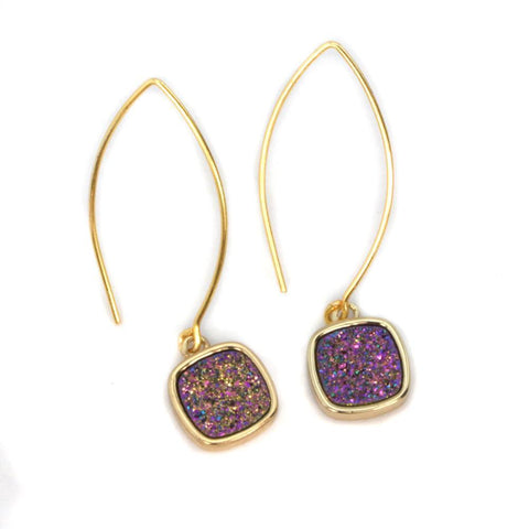 Image of Mia Druzy Square Gold Marquise Earrings