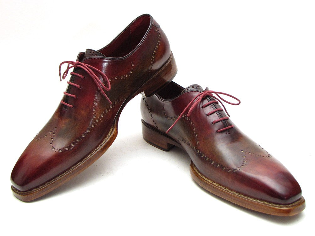 Paul Parkman Men's Wingtip Oxford Goodyear Welted Bordeaux & Camel (ID#087LX)