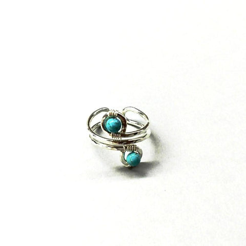 Sterling Silver Turquoise Adjustable Wire Wrap Finger Toe Ring
