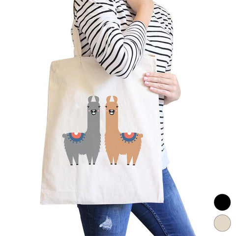 Image of Llama Pattern Canvas Shoulder Bag Cute Foldable Tote Bag For Women