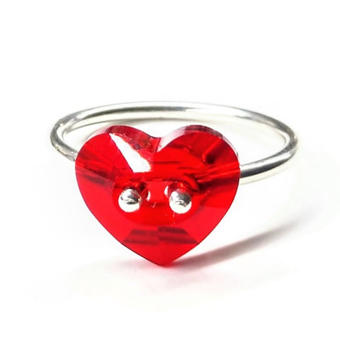 Red Sterling Silver Swarovski Crystal Heart Bling Ring