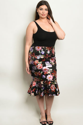 Black Floral Plus Size Skirt