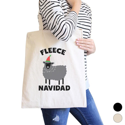 Fleece Navidad Canvas Shoulder Bag Heavy Cotton Foldable Tote X-Mas