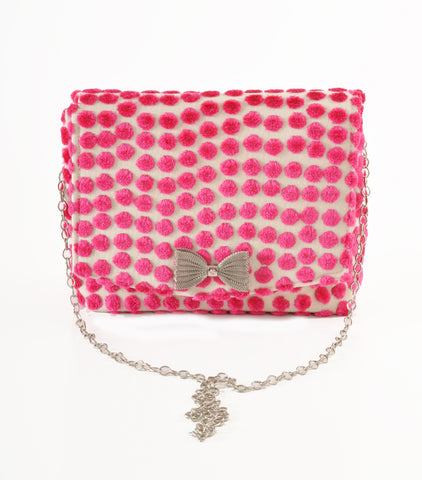 Image of Polka Dot Pink square clutch