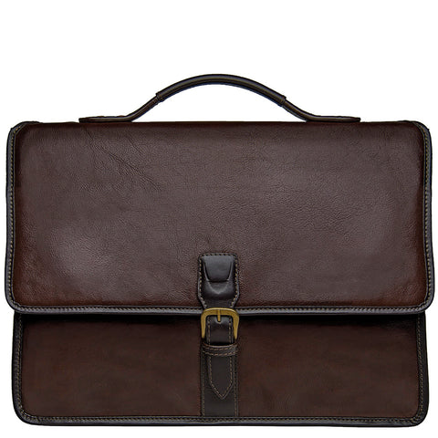 Image of Hidesign Harrison Buffalo Leather Laptop Briefcase