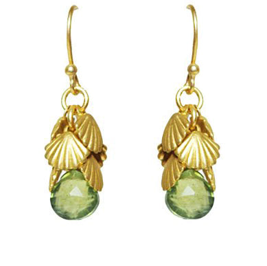 Image of Shell Cluster Peridot Earring