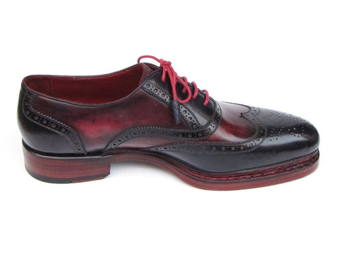 Image of Paul Parkman Men's Triple Leather Sole Wingtip Brogues Navy & Red (ID#027-TRP-NVYBRD)