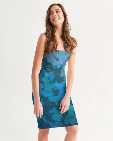Women's Ocean Camo Casual Midi Bodycon Dress