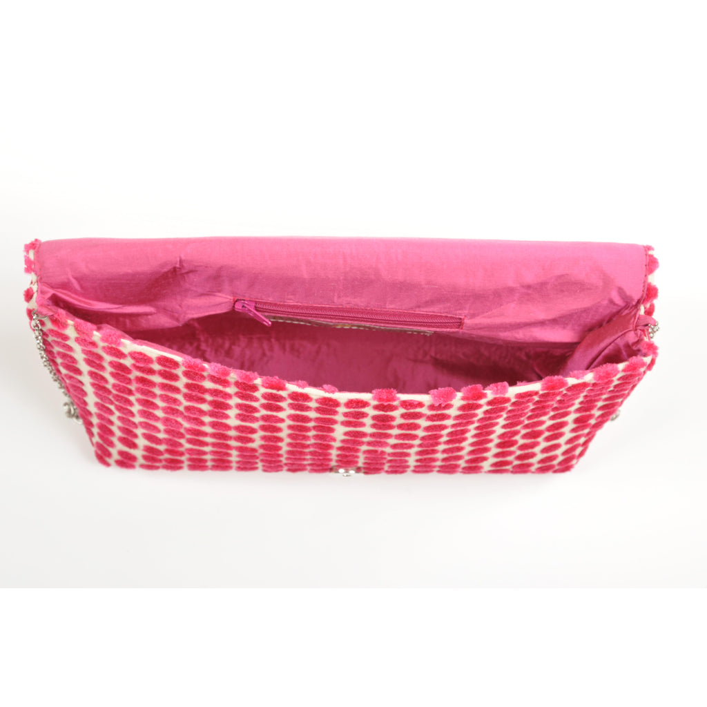 Polka Dot Pink envelope clutch