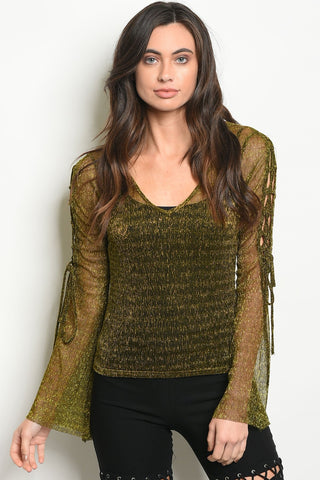 Womens Gold Shimmer Top