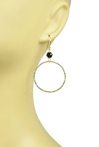 Image of Black Spinel Bezel Circle Earrings