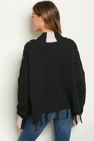 Womens Black Pink Sweater
