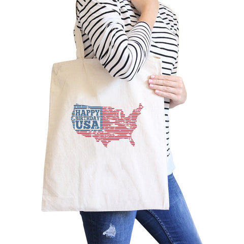 Image of Happy Birthday USA Natural Cotton Canvas Tote For Independence Day